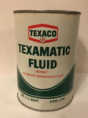 Vintage Texaco TEXAMATIC FLUID Can Steel U.S. 1 QT Full From 7/1972 Unopened
