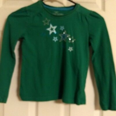 FADED GLORY Girl's Long Sleeve Graphic Shirt Green S/CH (6-6X) / {Pre-Owned}.