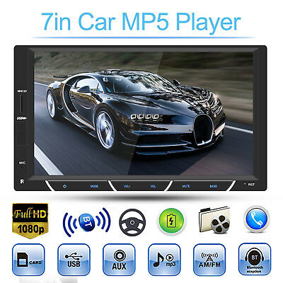 HD 7in Touch Car Stereo MP5 Player Double 2DIN FM Radio Audio AUX USB Bluetooth