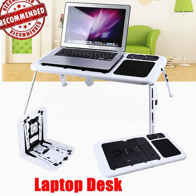Foldable Laptop Lap Desk e-Table Bed Dual USB Cooling Fan Stand TV Tray Portable