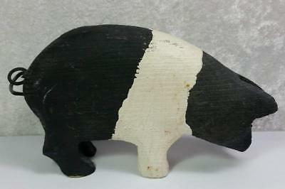 Wood Carved Pig Figurine Black and White Spotted Country Farmhouse Cottage Farm
