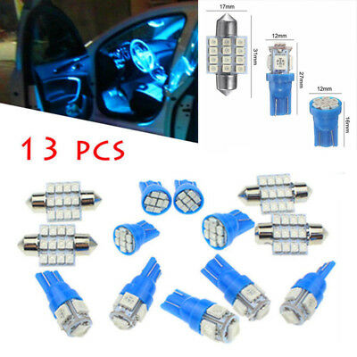 13X LED Lights Interior Package Kit Pure Blue For Dome License Plate Bulb BT DE