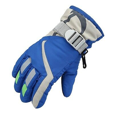 Sports Gloves For Unisex Kids Blue Waterproof Outdoor Snowboard Climbing Thick