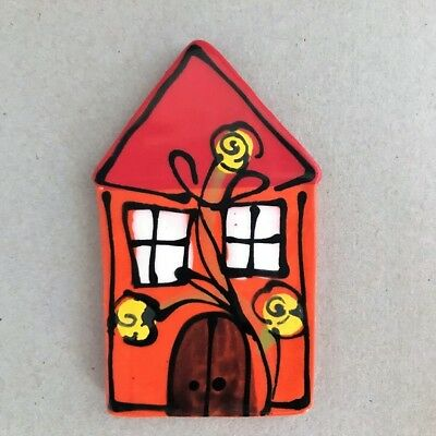 CERAMIC HOUSE - 100x63mm - Orange ~ Mosaic Inserts, Art, Craft Supplies