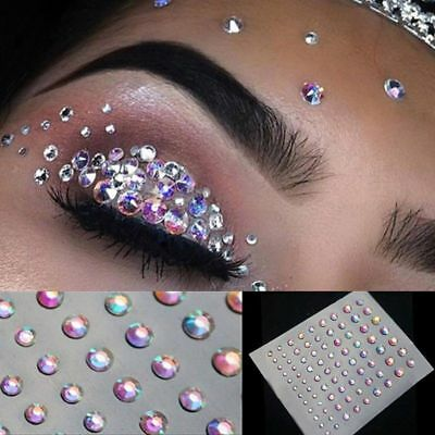 Temporary Tattoo Face Gems Jewels Rhinestone Festival Body Glitter Stickers Sexy