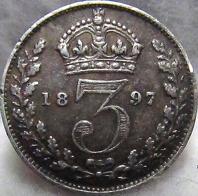 1897 Great Britain Silver 3 Pence ~ VF, Great Date, Sterling, Hi Grade, KM# 777
