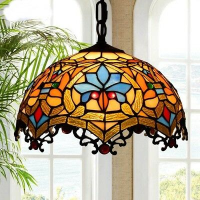 Baroque Tiffany Retro Stained Glass Aisle ceiling LED light lamp Chandelier home