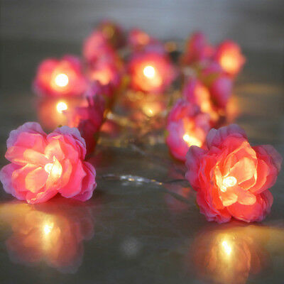 2m 20 LED Pink Silk Flower String Lights Lantern LED Battery Wedding Party Decor