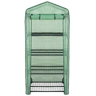 4 Tier Mini Greenhouse with PE Cover and Roll-Up Zipper Door Waterproof Portable