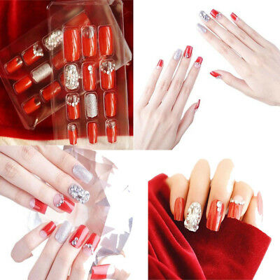 24pcs Charming Acrylic 3d Diamond Fake Nails Long Full Cover Press on False Nail