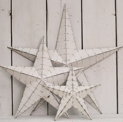 Off White Metal Rustic Shabby Chic Wall Hanging Star Decoration Large Medium Sml