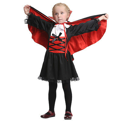 Girls Vampire Costume Kids Halloween Dracula Fancy Dress Outfit Childrens Party