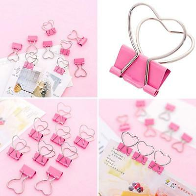 Metal Paper File Ticket Binder Heart Shape Clips Office School Stationery Clip