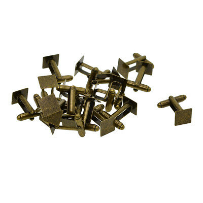 20pcs Cufflink Findings Cuff Link Blanks 10mm Square Bezel Tray Round Bar