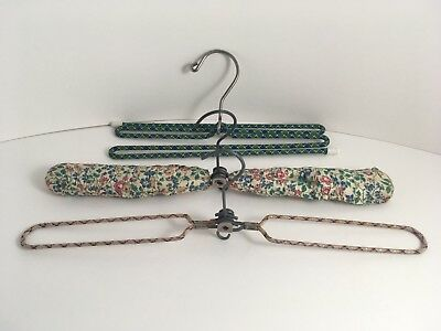 Vintage Travel Coat Hangers x3 ~ x2 Folding ~ x1 Padded x1 Wire & x1 Wire Zigzag