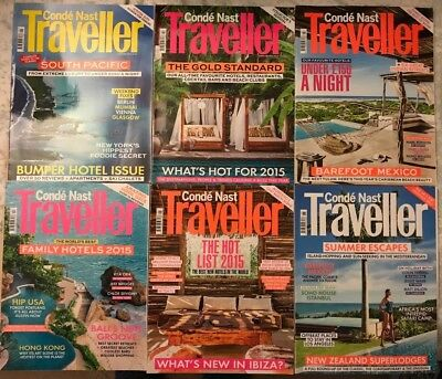 Conde Nast Traveller magazine collection - 6 issues - January to June 2015