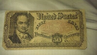 1875 Fractional note $0.50 Fair/Good Condition