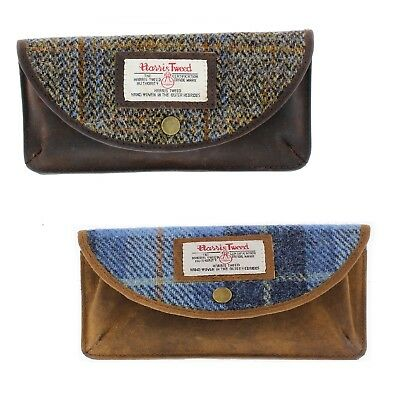 Ladies Harris Tweed & Leather Glasses Case/Holder Choice of Colours