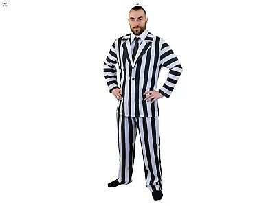 Mans Size Small 3840 Chest Halloween Beetlejuice Suit Costume Fancy Dress