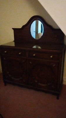 Sideboard with mirror vintage wooden with a glass top