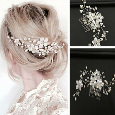 Women bridal white flower rhinestone pearl hair comb wedding hair accessories FT