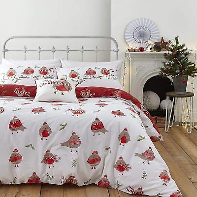 Catherine Lansfield Easy Care Robins Christmas Quilt/Duvet Cover Bedding Set