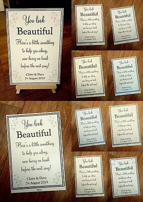 **A4/A5 Toiletries Wedding Sign - white or ivory card**24 colours**