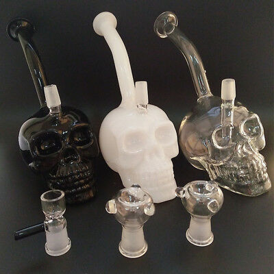 Glass Smoking Bongs Skull Head Bong Water Pipe With 14.4mm Joint Hookahs