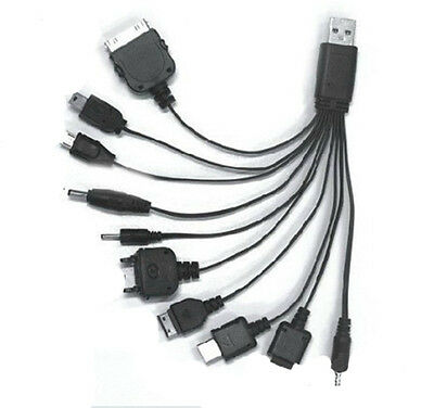 Great Universal 10 in 1 USB Multi Charger Phone Cable For Nokia iPhone JX