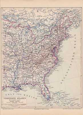 Amerika USA Ostküste Virginia Georgia LANDKARTE 1888 Florida New York Maine