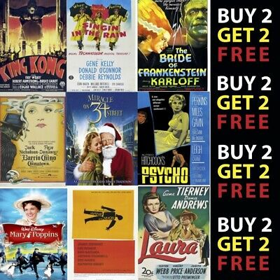 CLASSIC / CULT MOVIES Poster OptionsGlossy Poster Print 300gsm Paper/Card