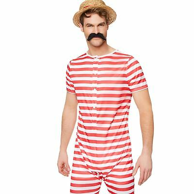 Mens Red Old Time Bathing Suit Costume Victorian 20s Fancy Dress Outfit