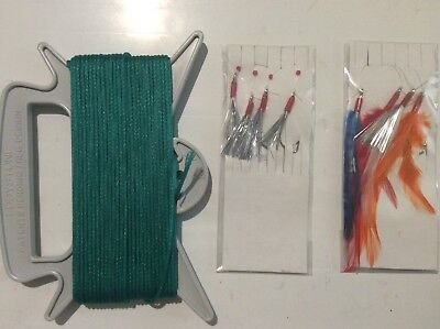 Hand Fishing Line With Mackerel Feathers And Flash Lure Rigs