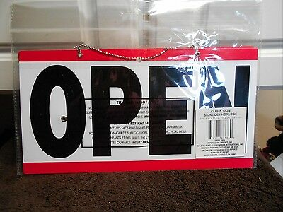 New Open Closed Sign with Clock Red Blue Plastic