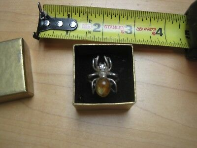 Vintage Antique Silver and Amber Spider Ring