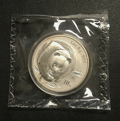 2003 China Chinese Silver Panda 10 Yn .999 Fine Coin ~ Bu Sealed Condition! Nr!