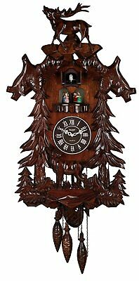 Large Deer Handcrafted Wood Cuckoo Clock with 4 Dancers Dancing with Music New
