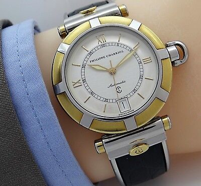Edle PHILIPPE CHARRIOL 5995 AUTOMATIC SWISS DATE Herrenuhr in Stahl/18K vergold.