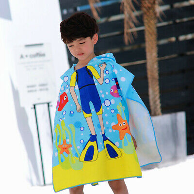 Quick Drying Boys Girls Hooded Poncho Kids Changing Robe Towel Wetsuit Blue