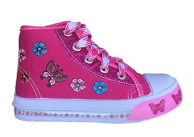 New Toddler Girls Fuchsia Canvas Tennis Shoes High Top Sneakers Glitter Lace Up