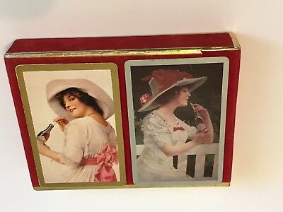Coca Cola Playing Cards 2 Deck Boxed Set Jokers Presented by Congress VTG HTF
