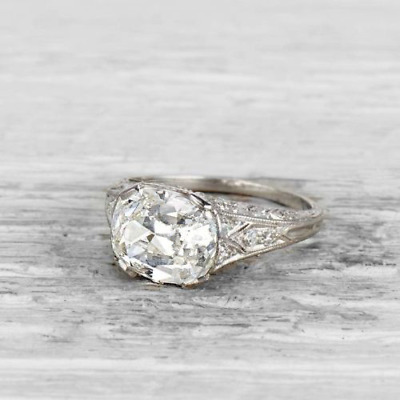 3.05 Ct Vintage Oval Cut Antique Art Deco Engagement Ring 925 Sterling Silver
