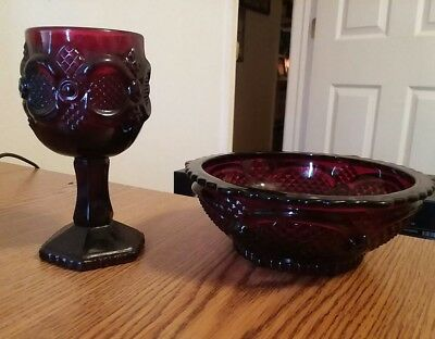 Avon 1876 Cape Cod Ruby Red Dessert Bowl 3 Special Occassion Soaps & Wine Goblet