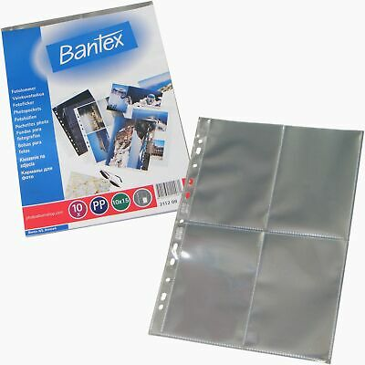 Bantex clear 6x4 vertical photo sleeves, suit any A4 binder, archival PP (10)