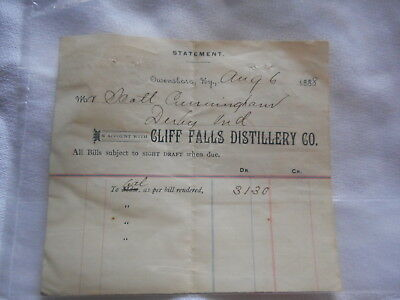 Cliff Falls Distillery Co Invoice 1888 Ky Whiskey Letter Green River Whiskey