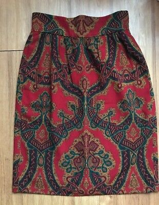 Gloria Sachs For Neumann Marcus Colorful Baroque 100% Wool Skirt . Size 12.