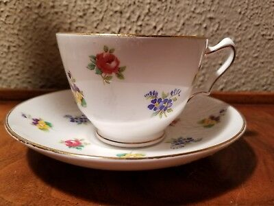 Crown Staffordshire Fine Bone China Floral Tea Cup, Saucer England