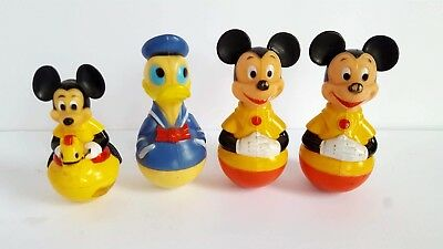 VINTAGE DISNEY MICKEY MOUSE Donald BOBBLE ROLY POLY TOY LOT 4 GABRIEL KELLOGG
