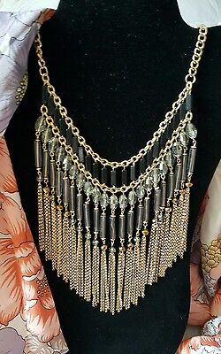 Stunning Black Clear Crystals GoldTone Fringe Statement Necklace 22 inches
