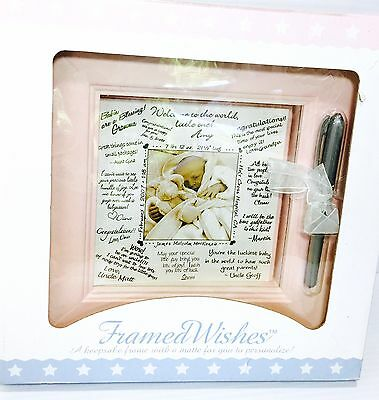 Personalizable Photo Frame for Baby Girl Framed Wishes in Pink by Stephan Baby
